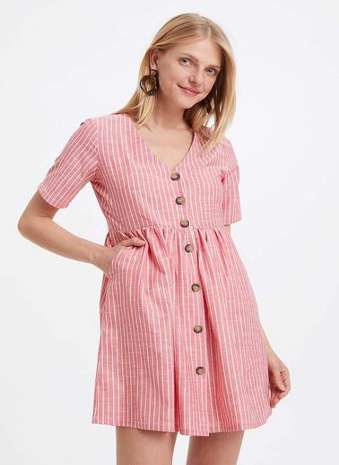 DeFacto Düğmeli Kısa Kollu Elbise Oranj